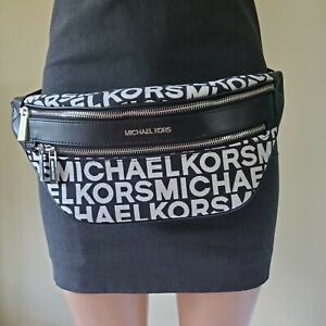 Michael Kors Logo Kenly Medium Waist Fanny Slang Belt Bag Crossbody Black White