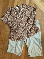 Women's Chico's Outfit: 2.0 Top; 1.5 Shorts. NWOT Necklace. EUC!