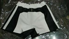 Real Genuine Leather Black White Stylish Short Men Wear Party Wear Cosplay