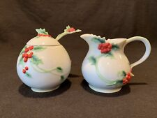 Franz Collection Holly Berries Porcelain Sugar Creamer & Spoon Christmas Holiday