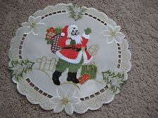 """Doily 15"""" round Christmas decor Santa Claus embroidered lace"""