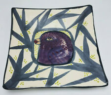 """Cindy Cynthia Jenkins Studio Pottery Ceramic Abstract Square Plate Unsigned 9"""""""