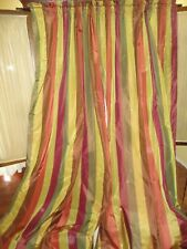 HOME SILKS SIENNA MAHOGANY GREEN WINE GRAPHITE STRIPE (PAIR) PANELS 50 X 107