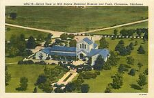 Linen Postcard OK F075 Aerial View Will Rogers Memorial Museum Tomb Claremore