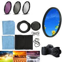 58mm UV FLD CPL Circular Polarizing Filter Kit Set + Lens Hood For Canon Camera