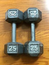 Set of 2 CAP 25 Lb Pound Cast Iron Hex Dumbbells Arm Curl Hand Pair Free Weights