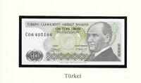 Banknotes of World Turkey 10 Lirasi 1970 UNC P-192a.1 Prefix C08