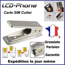 Coupe Decoupe Cutter SIM Micro Nano Carte iPhone Samsung avec Adaptateurs 3 en 1