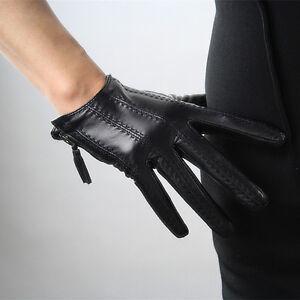 TECH GLOVES Real Leather Black Wrist Short Zipper Fringe Tassel Touchscreen Lamb