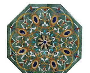 "36"" x 36"" green marble coffee Table Top Inlaid multi stones Pietradura Work"