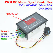 DC 6-60V 12V 24V 36V 48V Max 30A PWM DC Motor Speed Controller Digital LED Panel