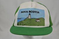 Vintage Nova Scotia Green Mesh Snapback Trucker Farmer Hat Cap