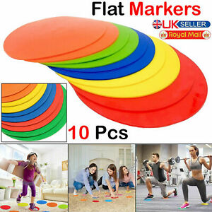 Round Rubber Cones Flat Training Spot Markers Football Pitch Floor Discs Sports