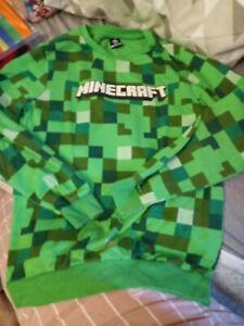 Boys Green Minecraft sweatshirt long sleeve top size age 9-10 years