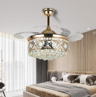 "42""Luxury Crystal Invisible Ceiling Fan Light Remote LED 3-Color Lamp Chandelier"