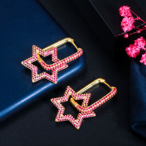 Elegant Multicolor Mix CZ Six Pointed Star Dangle Drop Earrings for Women Party