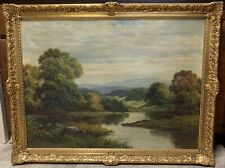 "British Augustus Spencer 1860-1924 Large Oil Painting ""A Sunset Landscape"""