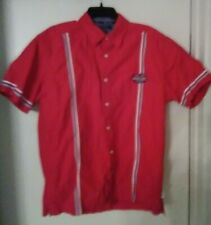 TOMMY JEANS SHORT SLEEVE BUTTON FRONT SHIRT RED BOWLING STYLE ROCKABILLY MEDIUM