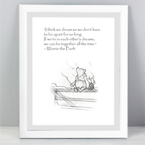 A5 Winnie The Pooh Quote Print Unframed Wall Art Minimalist Vintage Style