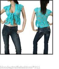 Aqua Blue Cap Sleeve Tie Front Stretch Lace Shrug Top S
