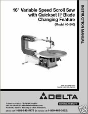 "Delta 16"" Scroll Saw Instruction Manual No. 40-540"