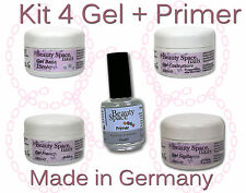 KIT 4 GEL UV PROFESSIONALI + PRIMER 15ML RICOSTRUZIONE UNGHIE FRENCH NAIL ART
