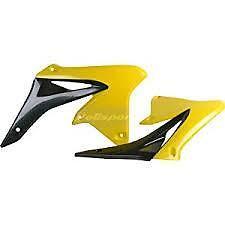 2 Ouïes flancs de radiateur POLISPORT jaune /noir  SUZUKI 250 RMZ   2010-2013