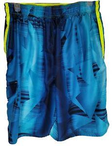 Nike Youth boys Size L Blue Geometric Design Pocketed Swim Trunks Board Shorts