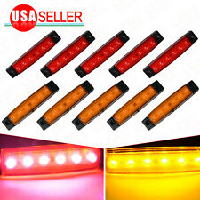 5x Yellow + 5x Red 6 LED Van Truck Trailer Side Marker Indicator Light Sealed US