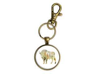 Woodland Theme Buffalo Bronze Key Chain Ring Clip Mens Masculine New Fathers Day