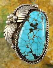 20g HUGE Apache CARLOS WHITE EAGLE Sterling #8 Spiderweb Turquoise Ring Sz 13