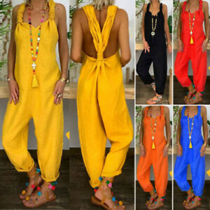 Womens Casual Loose Jumpsuit Ladies Sexy Dungarees Playsuit Rompers Overalls