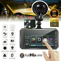 "1080P HD 4"" Dual Lens Car DVR Rearview Video Dash Cam Recorder Camera G-sensor"