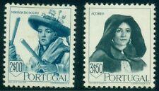 Portugal #681-2 2e peacock blue and 3.50e slate black, high values in set Lh