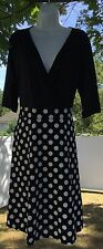 Sexy Women's Ladies V Neck Black Polka Dot A Line Dress Size Large 12 / 14 Plus