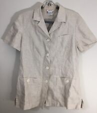 Talbots Linen Short Sleeve Button Front Business Top Natural Beige Flax Shirt 12