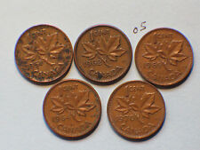 1951, 1962,1964,1969,1970 Canada Canadian Small 1c  (One) Cent Coins Lot of 5