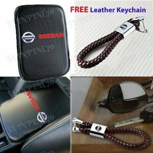 Carbon Fiber Car Center Armrest Cushion Mat Pad + Leather Keychain For NISSAN