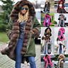 Women's Winter Coat Hooded Long Parka Jacket Thicken Lining with Fur Plus Size