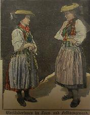 Holzstich Vierländerinnen in Sonntagstracht Tracht Stich Museum Grafik Antik
