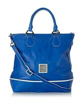 GF Ferre Leather Tote with Crossbody, Blue/Beige NEW