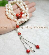 Natural 9-10mm real white Pearl Red coral Round beads Mala Necklace meditation