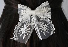 Spitzen Tüll Haarspange mit Schleife Haarclip Creme Braut Schmuck Frisur Bow