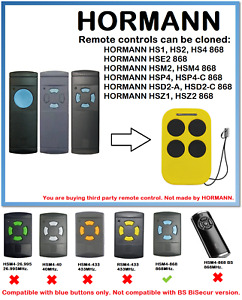 Remote control duplicator for HORMANN HS1, HS2, HS4 868 (Blue buttons only)