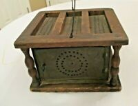 VINTAGE PRIMITIVE WOOD TIN PUNCHED BUGGY FOOT WARMER