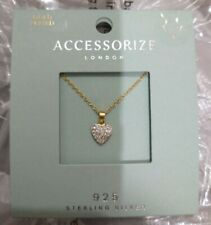 Accessorize Heart Pendant Necklace GOLD PLATED Sparkly BRAND NEW Free Post