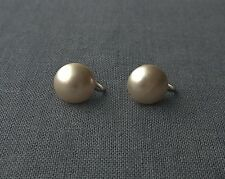 VINTAGE 925 STERLING SILVER CHAMPAGNE BUTTON PEARLS EARRINGS SCREW BACK