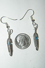 "Feather Charm Earrings Southwest Blue Inlay Silver Plated Ear Wires 2"" Long NEW!"