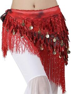 New Belly Dance Hip Scarf Festival Wrap Skirt Party Scarf Tassel Sequin Red