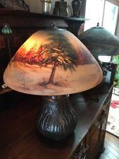 Handel Arts Crafts Mission Reverse painted Vintage Bradley Hubbard Era lamp